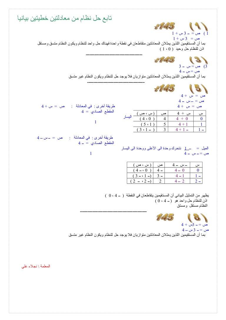 حل نظام من معادلتين خطيتين بيانيا