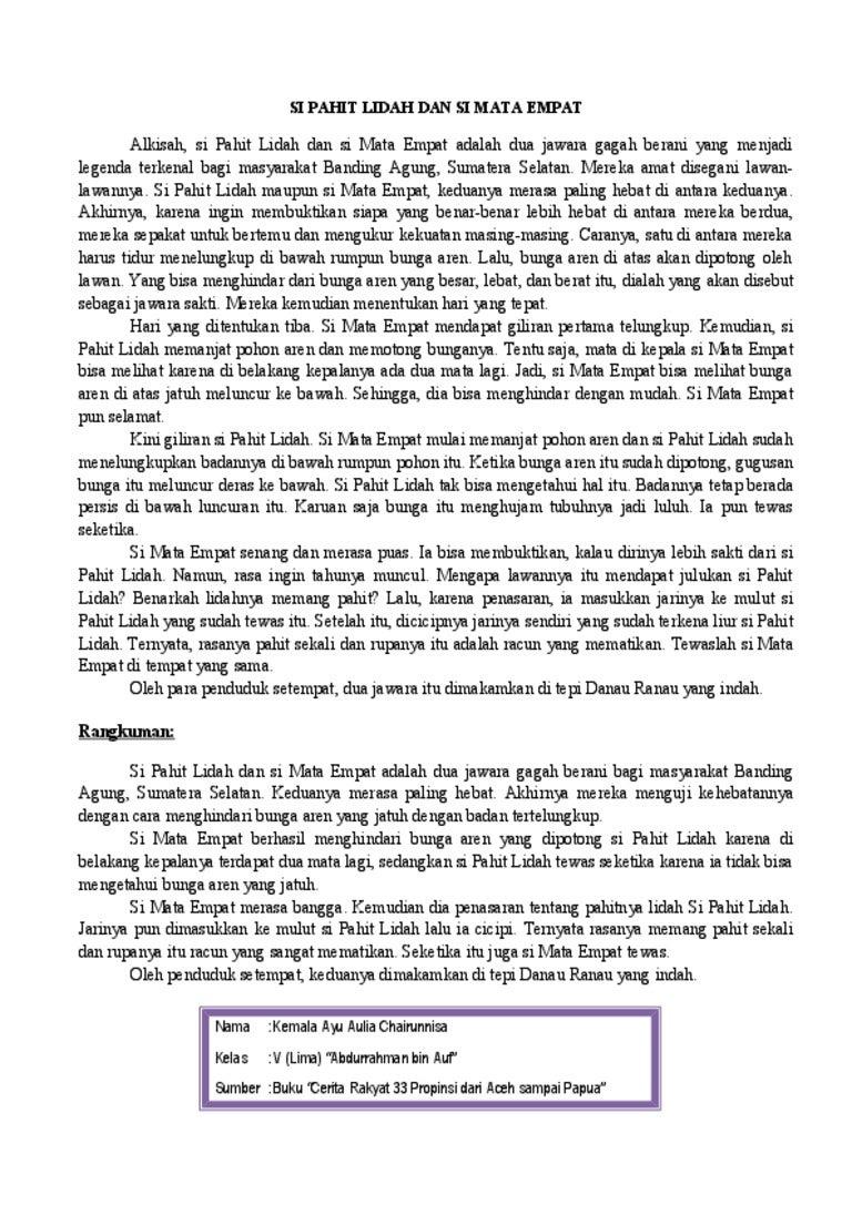 Rangkuman Si Pahit Lidah Dan Si Mata Empat Kelas V