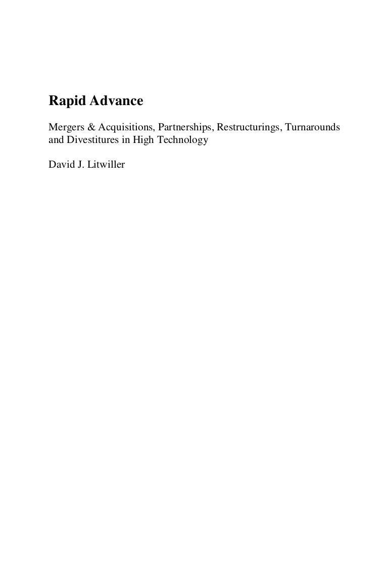 Rapid Advance - Mergers & Acquisitions, Partnerships, Restructurings,…