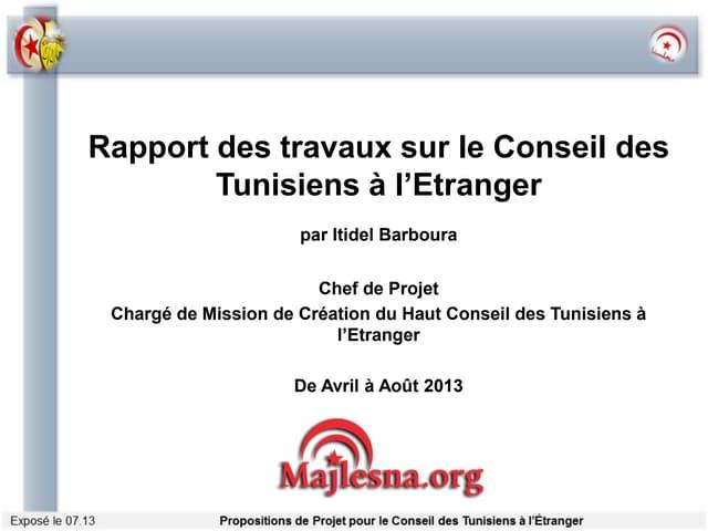Rapport des travaux sur le Conseil des Tunisiens à l'Etranger