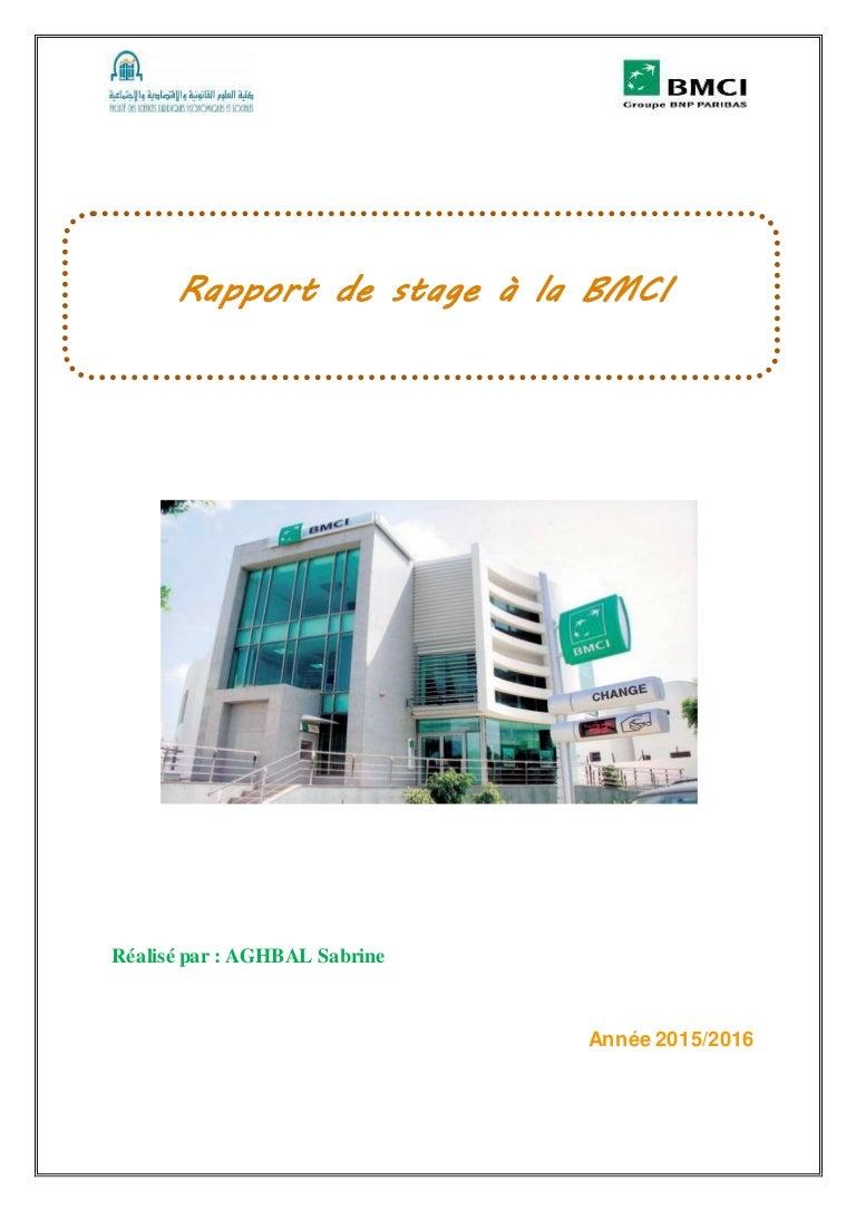 Rapport De Stage à La Banque Marocaine Pour Le Commerce Et L