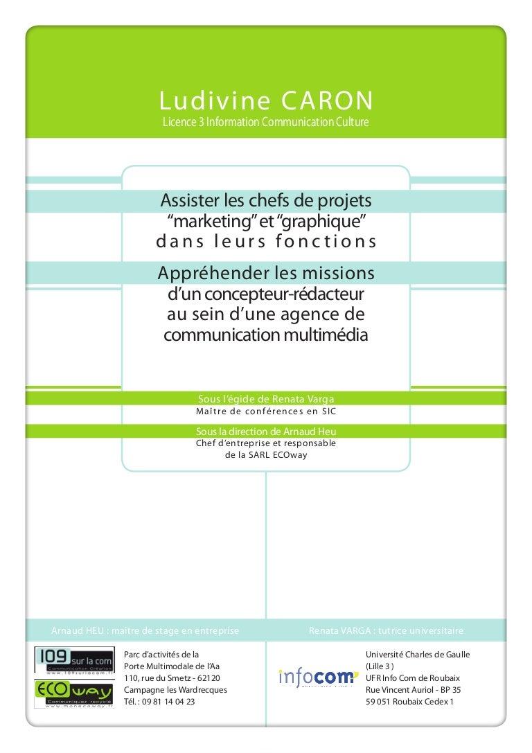 Agence De Communication Roubaix ludivine caron | rapport de stage | licence 3 | agence de