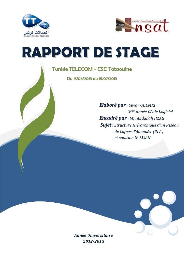Rapport Stage Ip Msan Tunisie Télécom