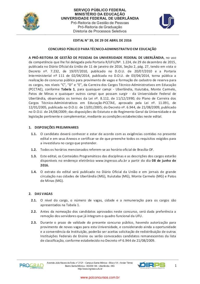 www.rasconcursos.com concursos edital_ufu_0392016