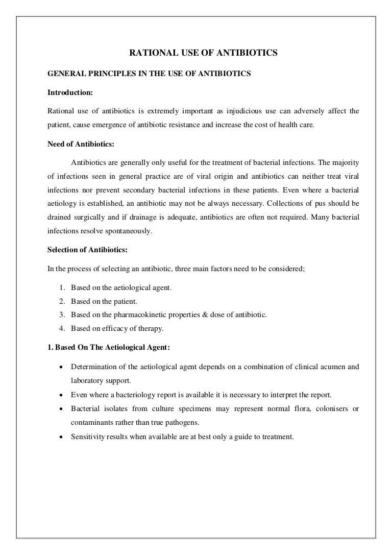 use of antibiotics