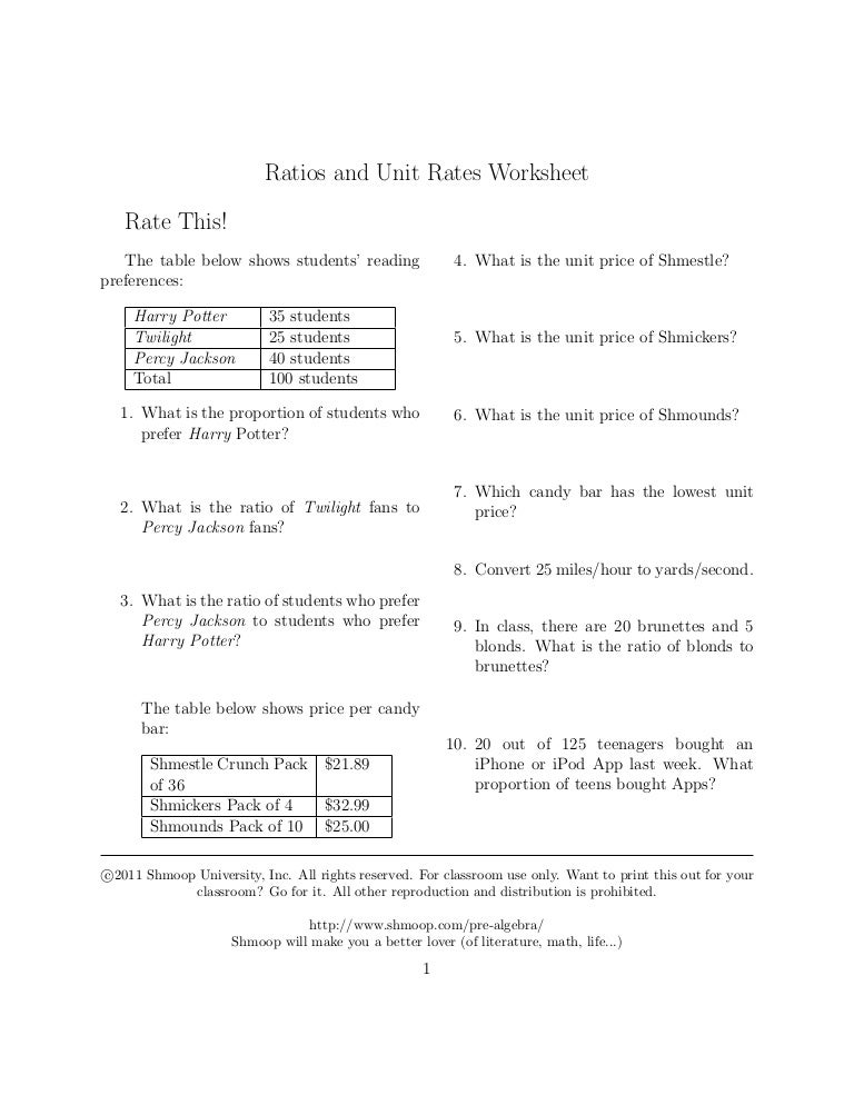 Ratios andunitratesquestions – Unit Rates Worksheet
