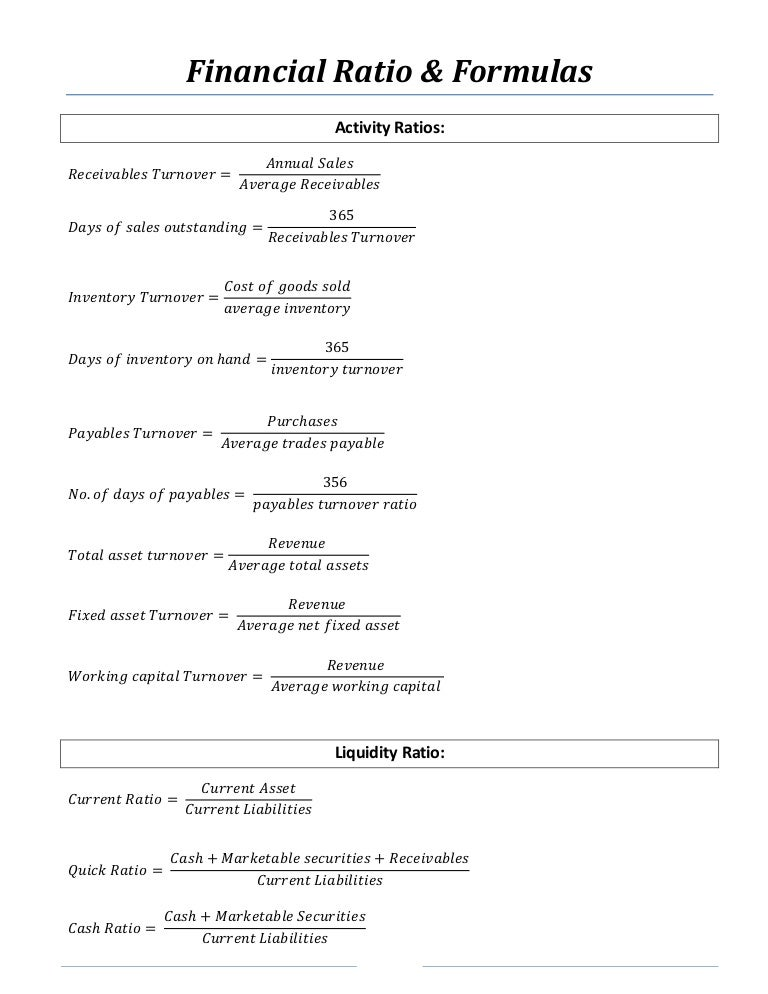 Financial Ratios and Formulas for Analysis