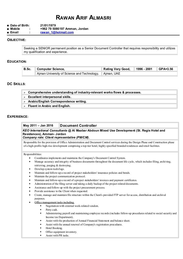 senior document controller