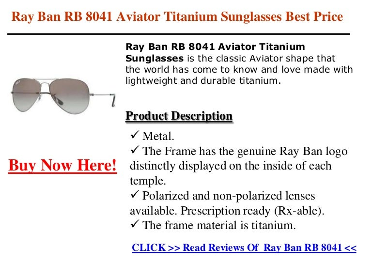 Ray Ban RB 8041 Aviator Titanium Sunglasses Best Price