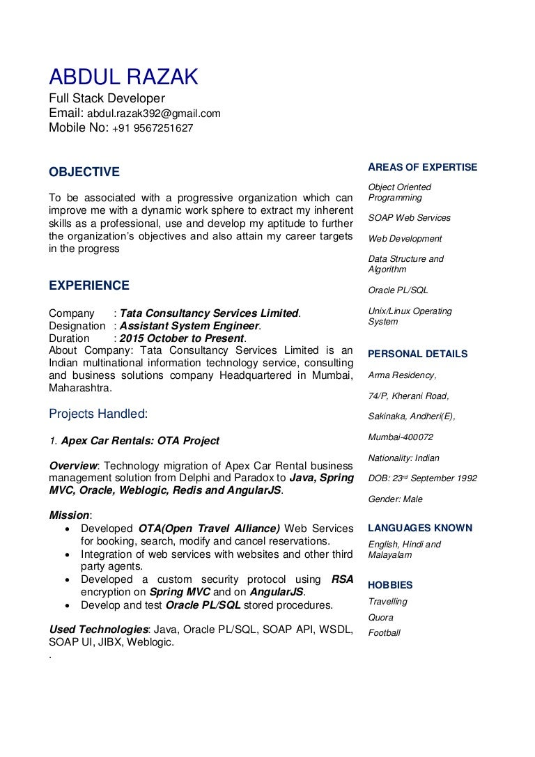 Fine Resume Upload In Tcs Gallery - Example Resume and Template ...