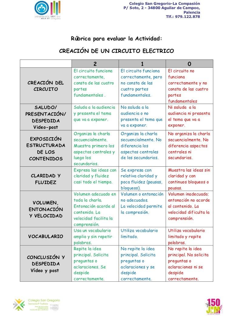 Circuito Electrico Simple : Rúbrica para evaluar creacion de un circuito electrico