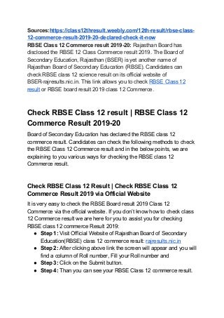 Rbse class 12 commerce result 2019 20 declared check it now