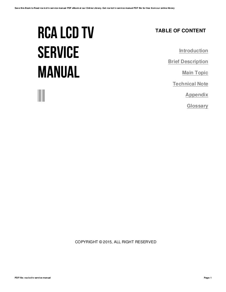 Rca lcd tv service manual