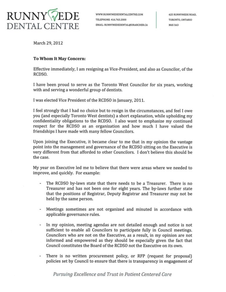 Natalie Archer Vp Rcdso Resignation Letter