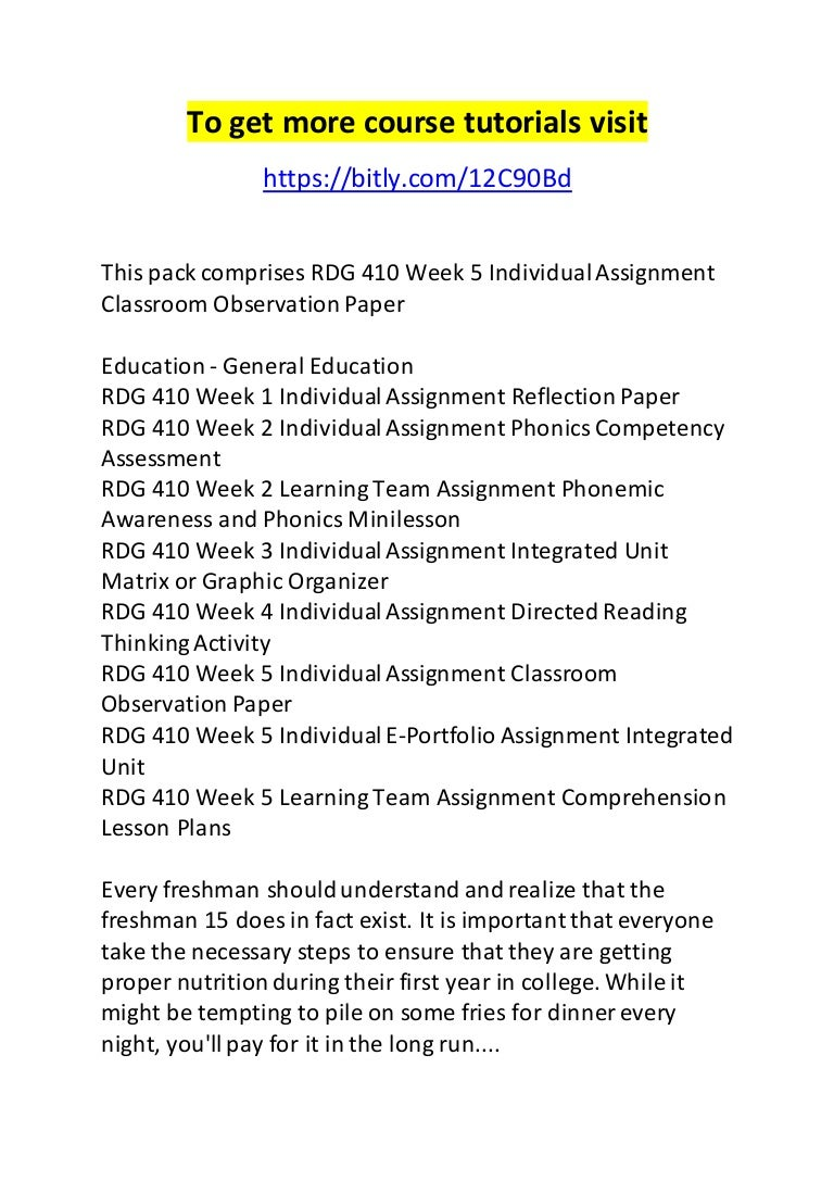 rdg 410 week 5 individual assignment classroom observation paper