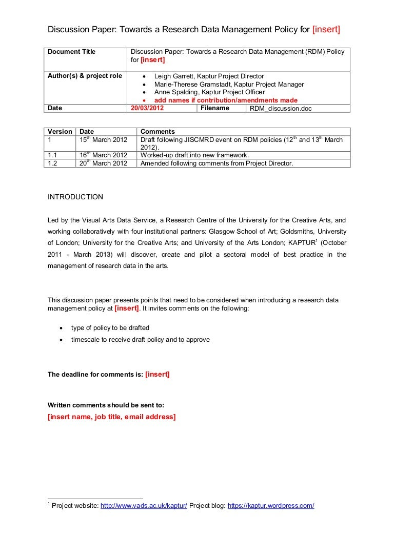 Research Data Management (RDM) discussion paper