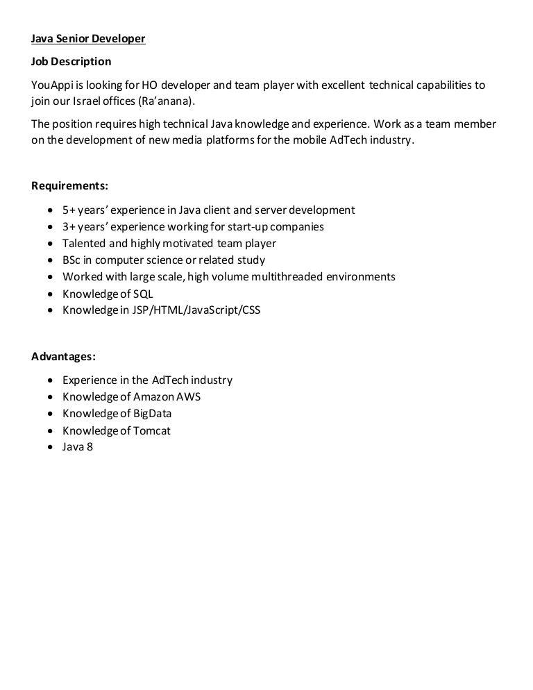 YouAppi RD positions job description 2015 – Java Developer Description