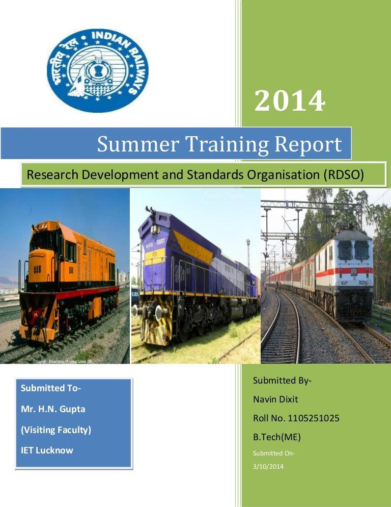 RDSO Manaknagar training report COVER PAGE – Training Report