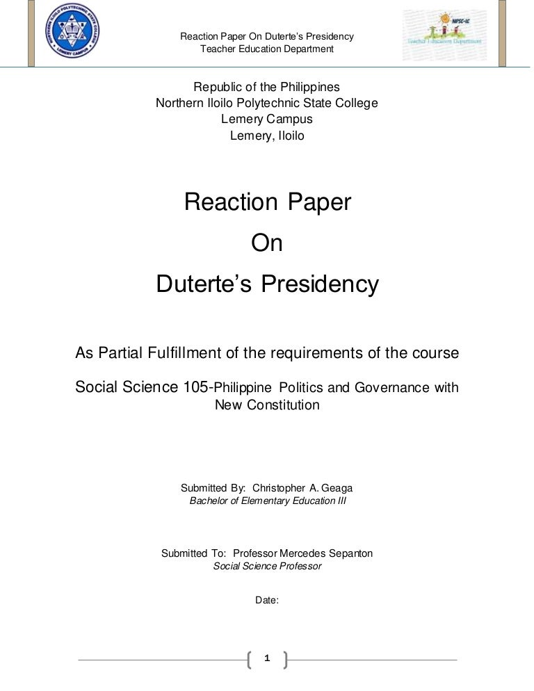 reaction paper in president rodrigo duterte administration