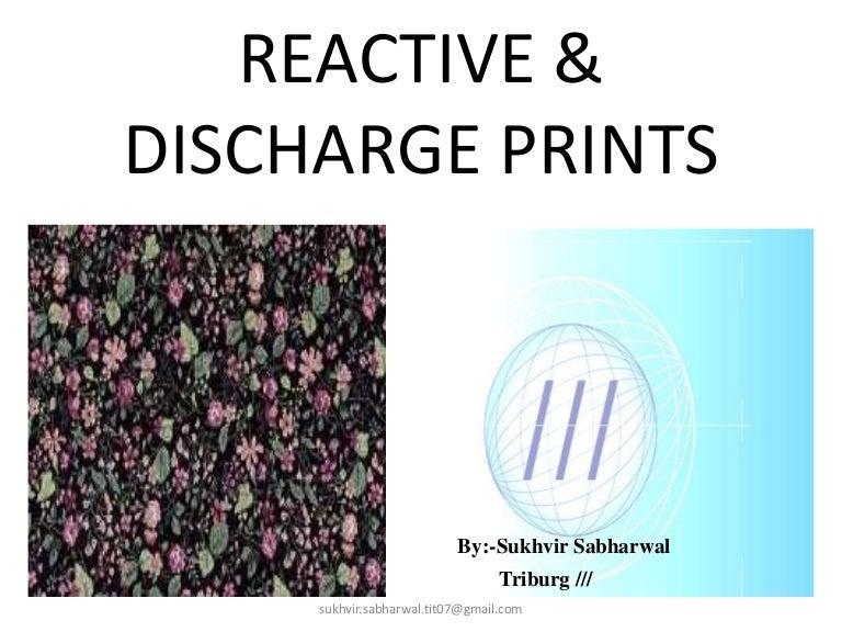 printing reactive discharge print presentation by sukhvir sabharwal