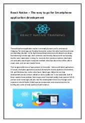 React native training classes in kolkata