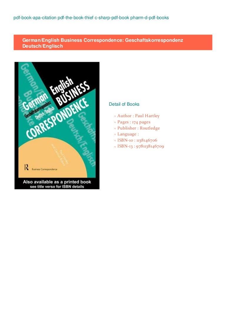 READ PDF EPUB EBOOK BOOK German/English Business Correspon…