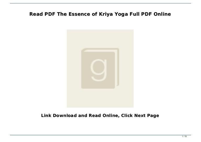 Read Pdf The Essence Of Kriya Yoga Full Pdf Online
