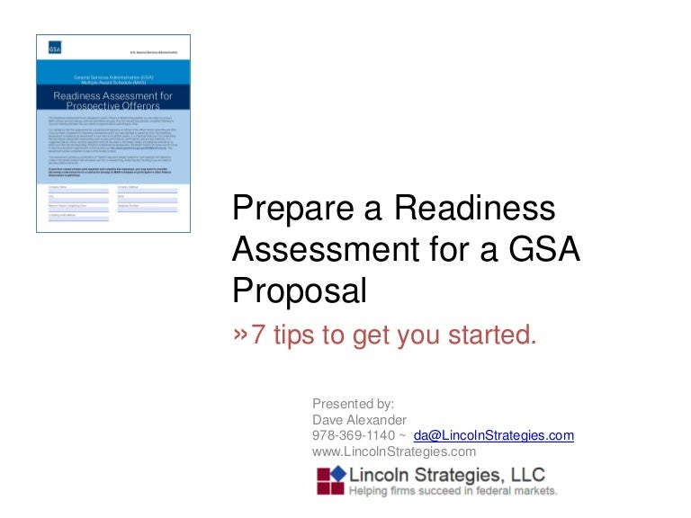 readiness assessment for gsa proposals
