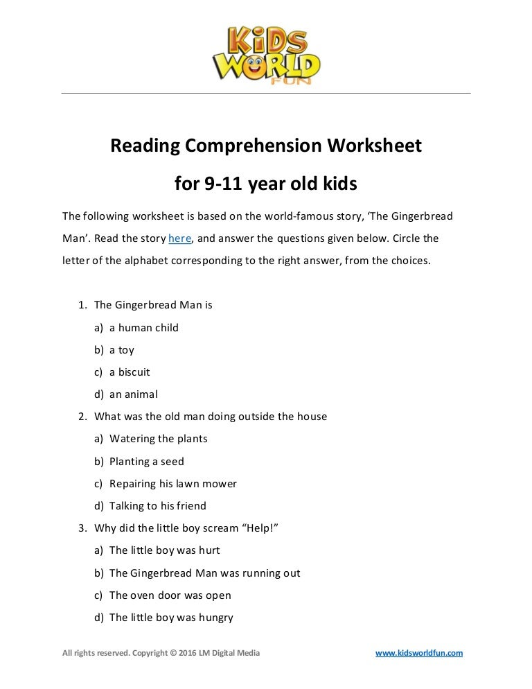 Reading comprehension-worksheet-for-9-11-years-old-kids