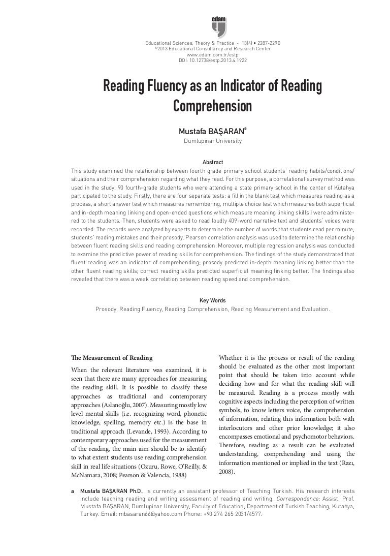 - Reading Fluency As An Indicator Of Reading Comprehension