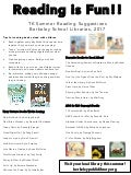 2017 Preschool Summer Reading list