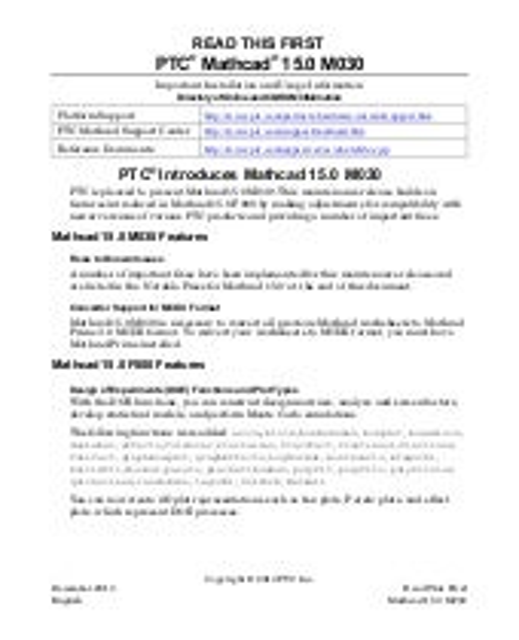 PTC® Mathcad® 15.0 M030 features