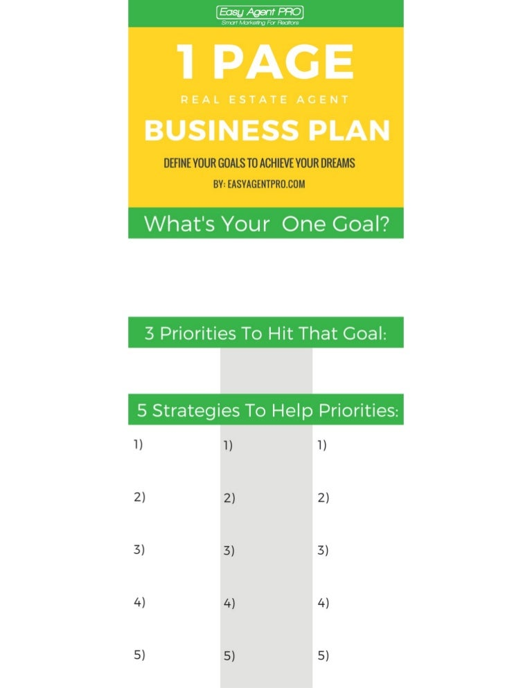 The one page real estate business plan template wajeb Images