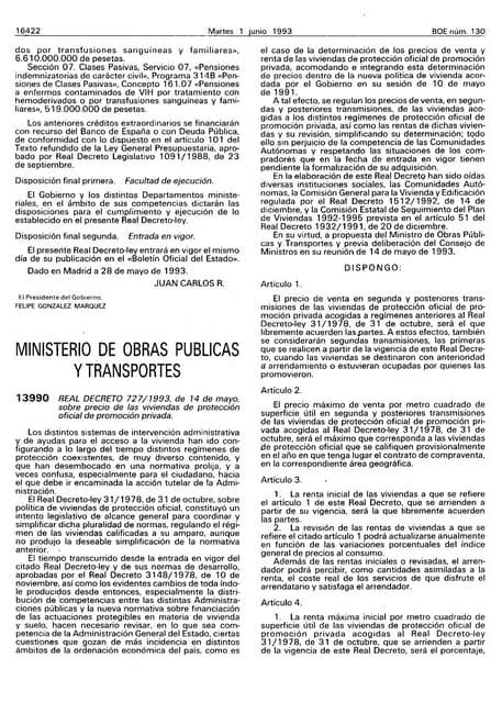 Real Decreto 727/1993 liberalización precios proteccion