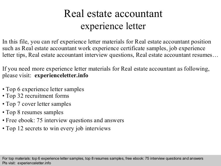 Real estate accountant experience letter