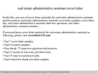 real estate administrative assistant linkedin real estate administrative assistant cover letter