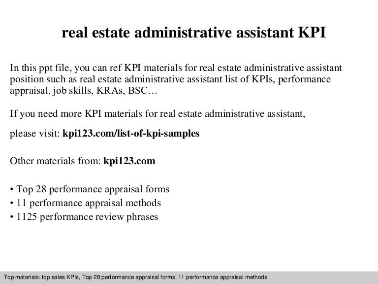 Real estate administrative assistant kpi