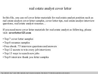 real estate analyst cover letter  cover letter  internship