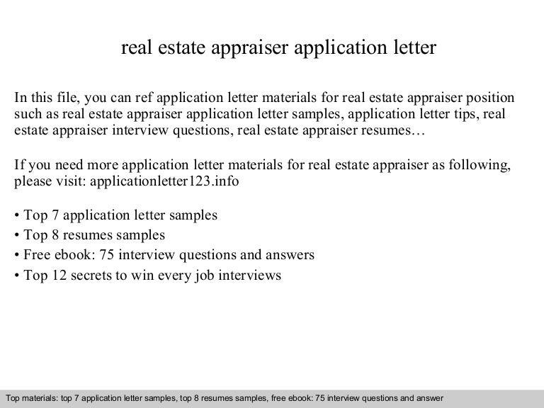Real estate appraiser application letter