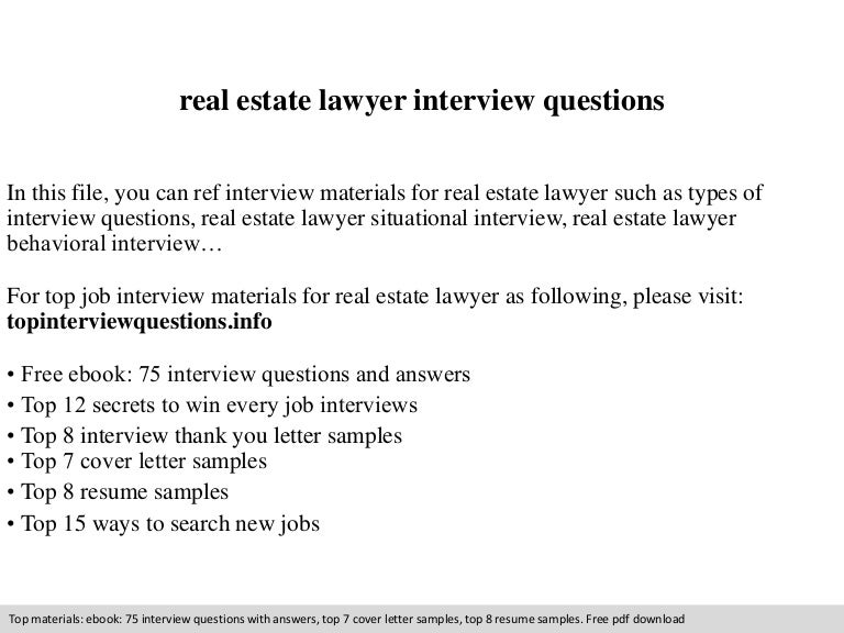 Real estate lawyer interview questions