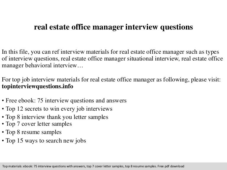 real estate office manager interview questions - Office Manager Interview Questions And Answers