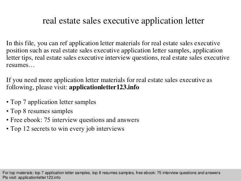 Real estate sales executive application letter