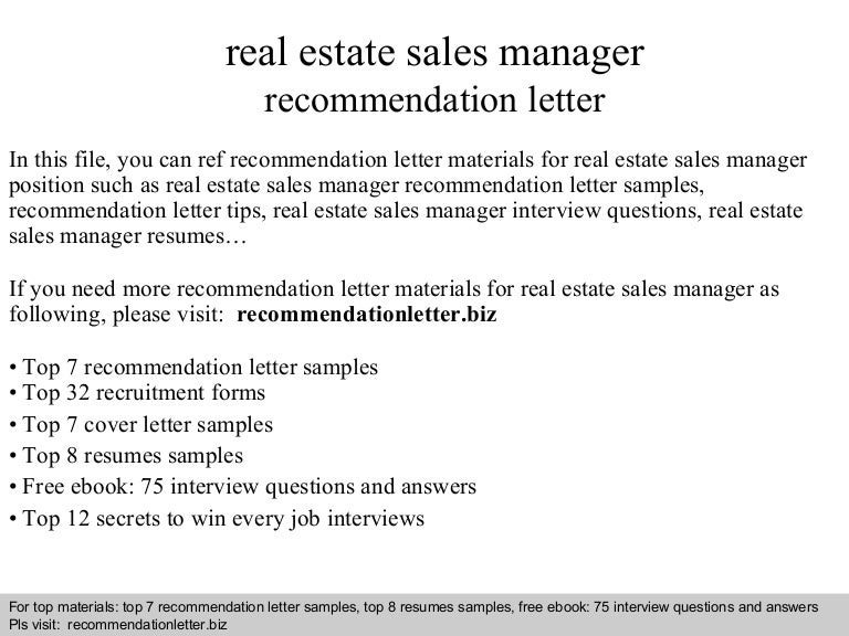 real estate sales manager recommendation letter - Sales Manager Interview Questions Sales Job Interview