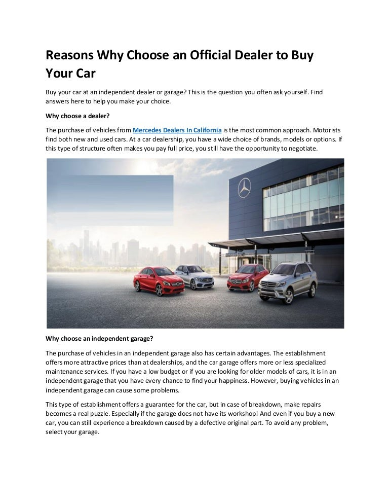 Dealerships That Buy Cars >> Reasons Why Choose An Official Dealer To Buy Your Car