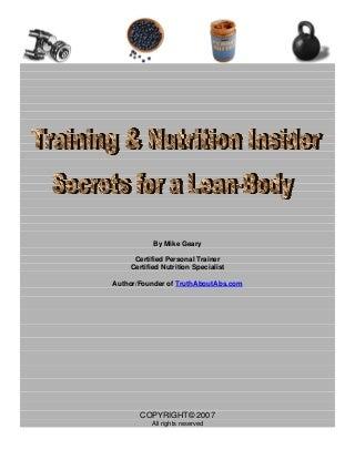 Training & Nutrition Insider Secrets for a Lean Body