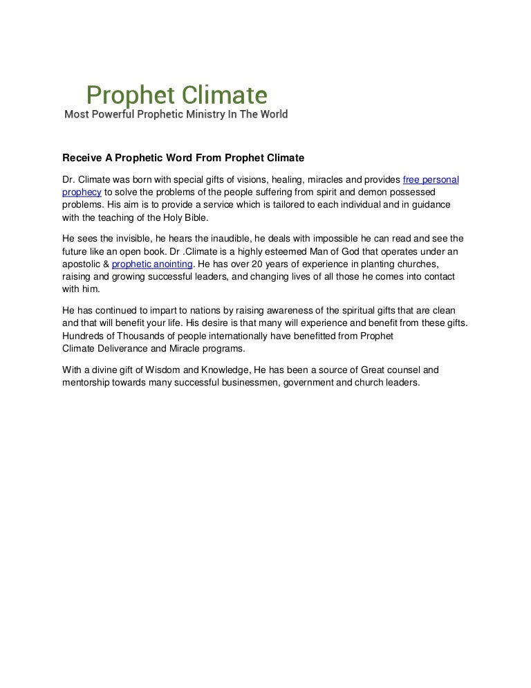 Receive A Prophetic Word From Prophet Climate