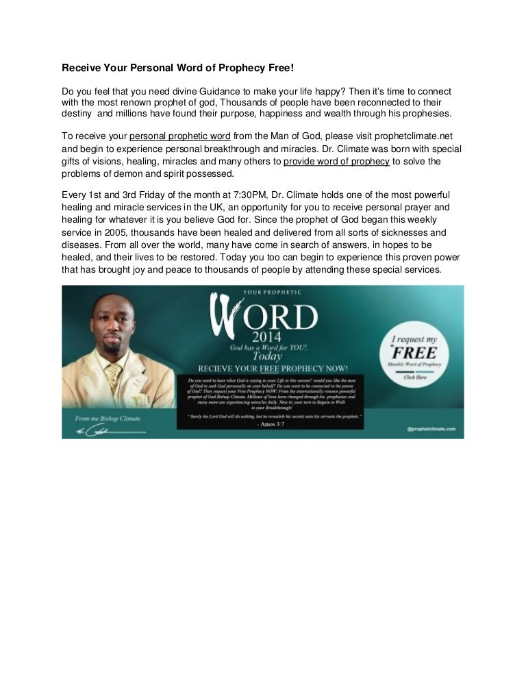 Receive Your Personal Word of Prophecy Free!