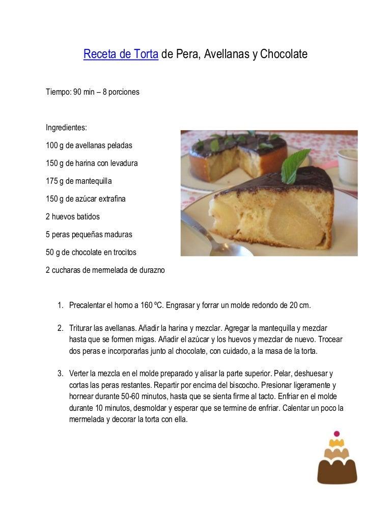 Receta de torta de pera avellanas y chocolate - Rectas de cocina faciles ...