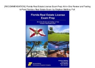 [RECOMMENDATION] Florida Real Estate License Exam Prep: All-in-One Review and Testing to Pass Florida s Real Estate Exam by Stephen Mettling Full