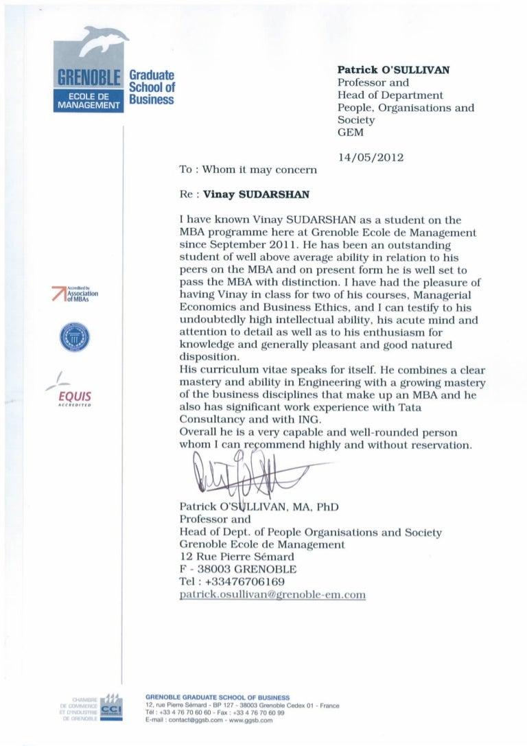 recommendation letter from professor patrick o u0026 39 sullivan